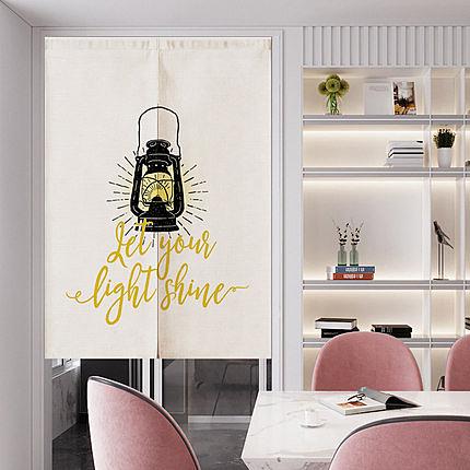 可愛時尚棉麻門簾E569 廚房半簾 咖啡簾 窗幔簾 穿杆簾 風水簾 (65cm寬*90cm高)