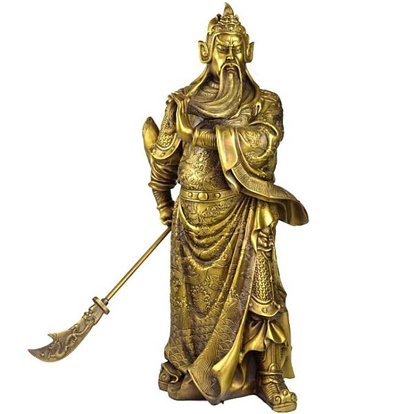 開光關公擺件純銅大號武財神