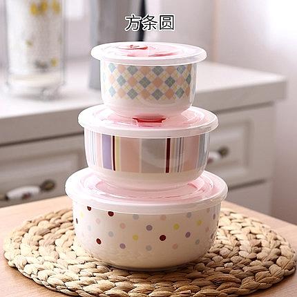 微波爐碗帶蓋泡面碗陶瓷保鮮碗三件套陶瓷碗帶蓋陶瓷碗套裝便當盒