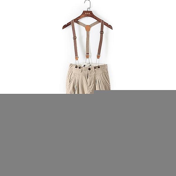 [超豐國際]堅夏裝女裝卡其色休閑背帶寬松長褲 43104(1入)