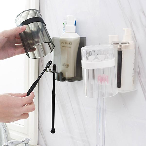壁貼式牙刷漱口杯架 透明鑽石款 FTS090 牙刷架 牙刷 刷牙 漱口杯 置物架 收納架 浴室收納