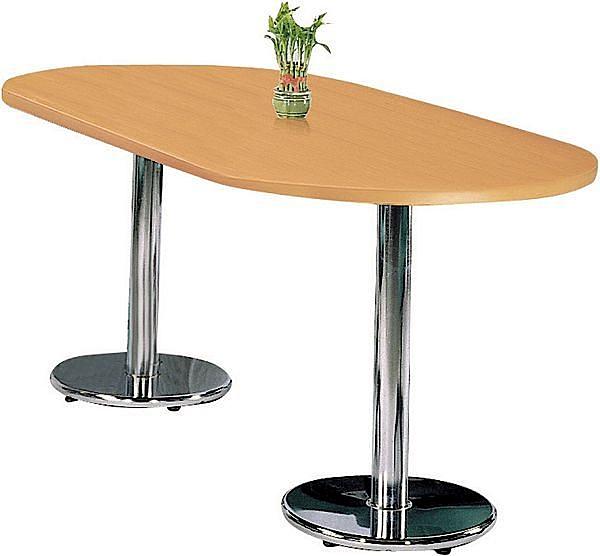 HY-Y62-7 2.5X5.5尺 橢圓(905)檯面桌(電金圓盤腳)