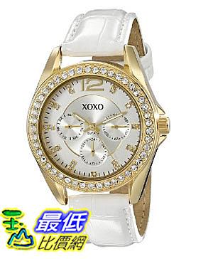 [美國直購] 女錶 XOXO Women s XO3354 Rhinestone-Accented Gold-Tone Watch with White Faux-Leather Strap