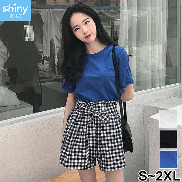 【V2855】shiny藍格子-小清新.純色短袖上衣格子闊腿褲兩件式套裝