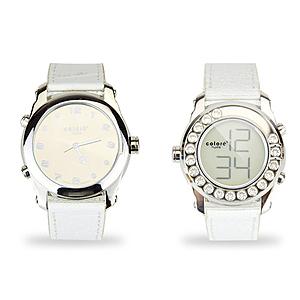 colore TWINS時尚真皮水晶數位指針錶M04白色