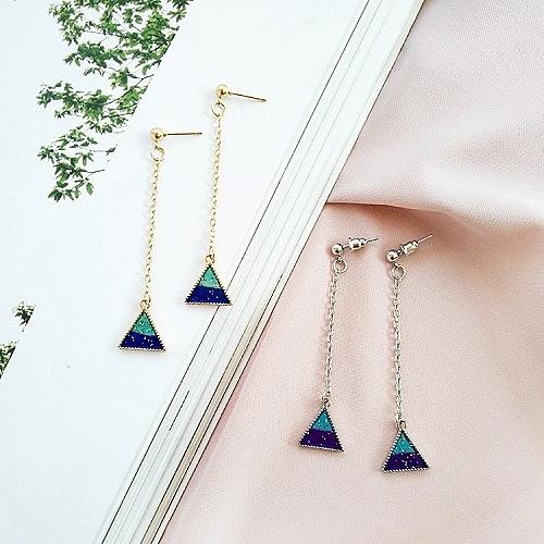 【NiNi Me】韓系耳環 時尚簡約三角形炫彩藍色長款耳環 耳環 N0182