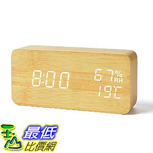 [8玉山最低比價網] 【日本代購】FiBiSonic 質感時鐘 原木色 LED白字(大音量 鬧鐘 溫溼度 USB/電池)