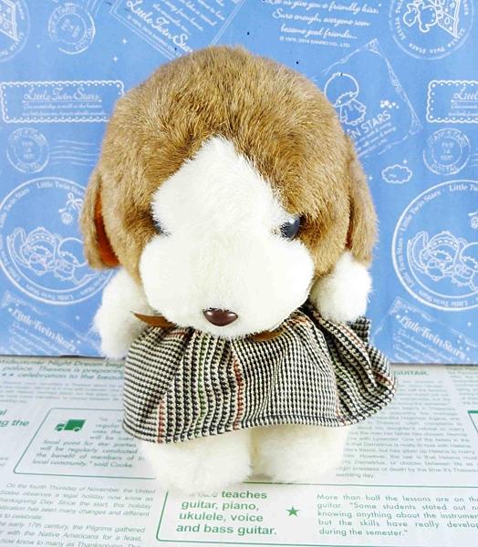【震撼精品百貨】日本日式精品_狗DOG~絨毛玩偶-咖啡色耳朵-小格裙