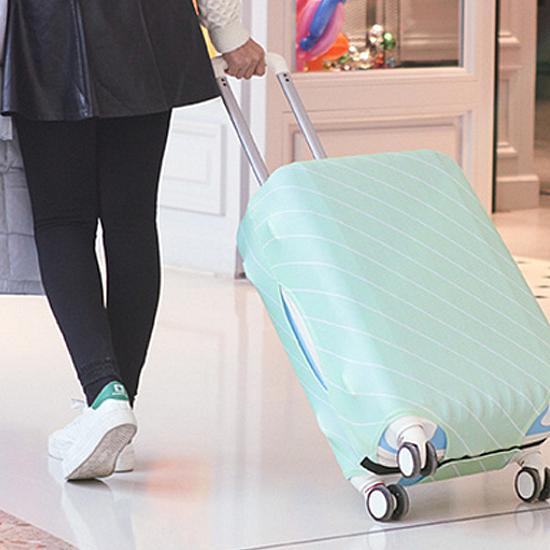 斜紋彈力行李箱防塵罩(M) 旅行 出差 拉桿 圖案 水洗 防塵 登機 保護 魔鬼氈【Z060】慢思行