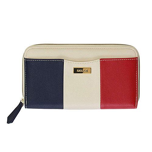SUN-STAR DELDE 法式馬卡龍系列大開口扁平包 化妝包 筆袋 經典漿果 深藍紅_UA59494