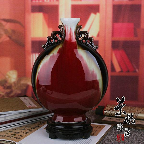 景德鎮陶瓷器花瓶 顏色釉朗紅祭紅 月光瓶