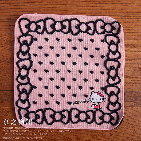【京之物語】 Hello Kitty愛心蝴蝶結粉色小方巾(手帕)