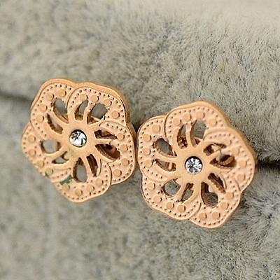 玫瑰金 鑲鑽 純銀耳環(耳針式)-精美花型時尚生日情人節禮物女飾品71at61【巴黎精品】