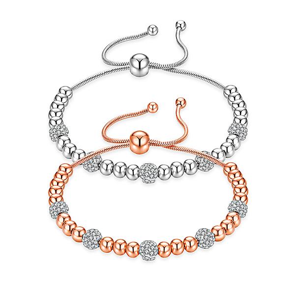 【5折超值價】日韓流行時尚水鑽球型圓珠鈦鋼手鍊