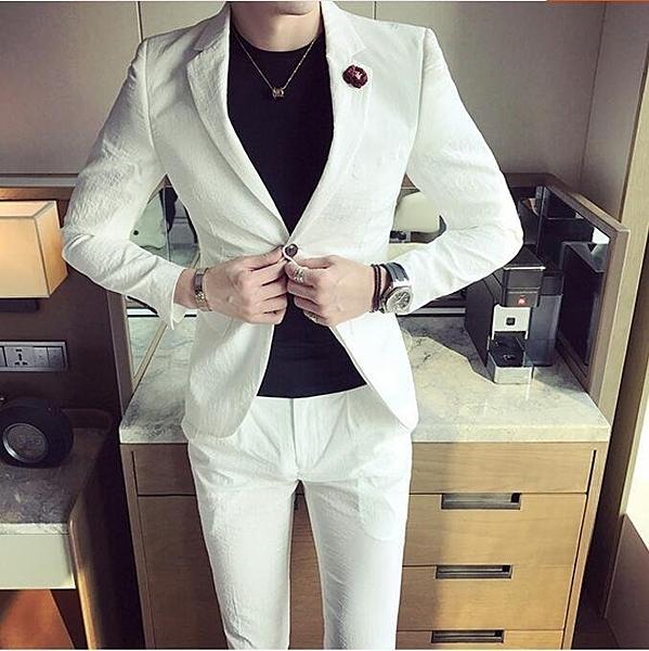 FINDSENSE品牌 韓國男 西裝外套穿搭 兩件式套裝 成套西裝 西裝修身 外