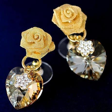 心花怒放 掐絲立體玫瑰 水晶耳環