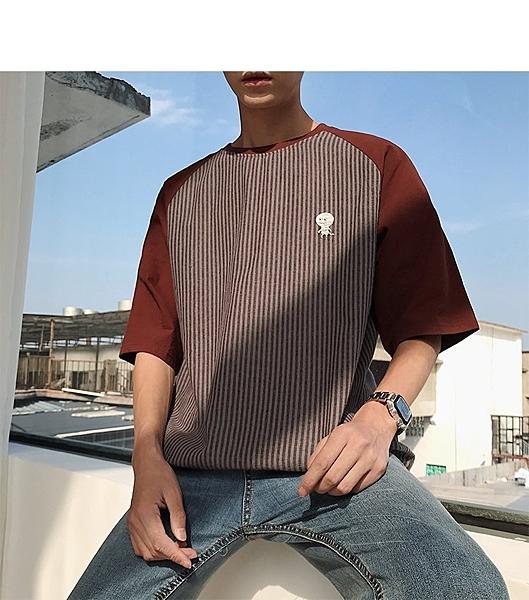FINDSENSE H1 2018 夏季 個性 條紋拼接   紅色 T恤 潮流