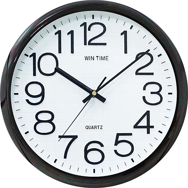 12吋電鍍黑超靜音立體字時鐘 W-9155