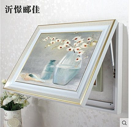 歐式簡約花卉風景液壓布雙金框裝飾畫(圖一)