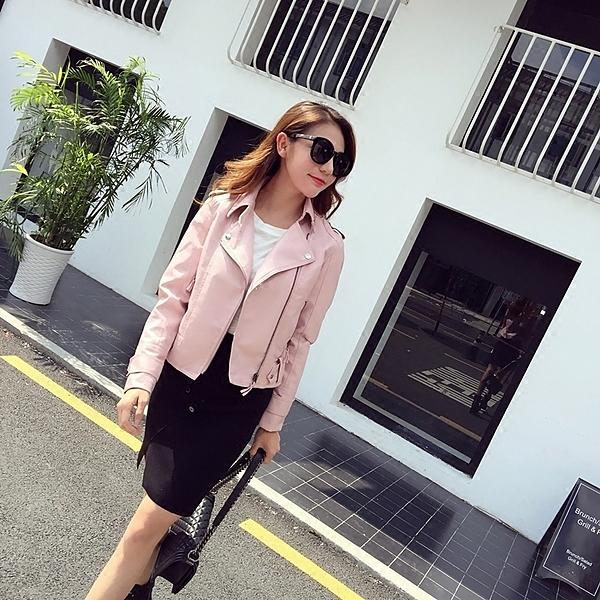 [超豐國際]春裝氣質翻領機車皮衣粉色女修身PU皮夾克短款外套1入