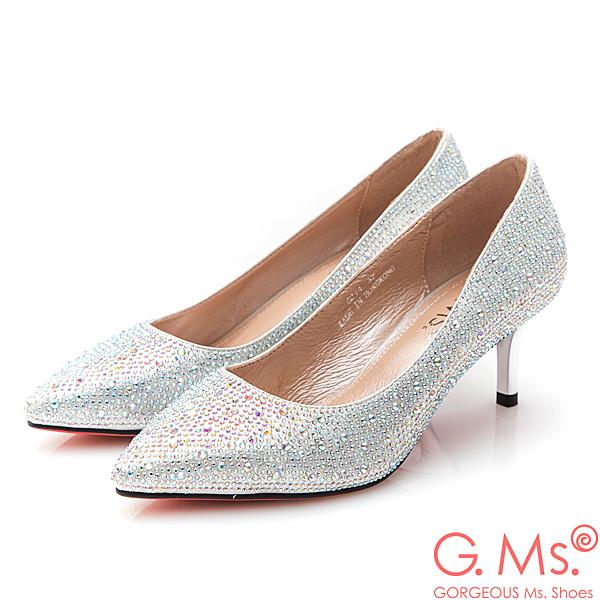 G.Ms. 花嫁系列-尖頭貼鑽新娘鞋*銀色