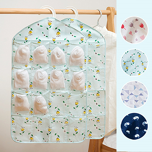 簡約布藝16格分類收納掛袋 居家雜貨 掛袋 防水袋 小物收納