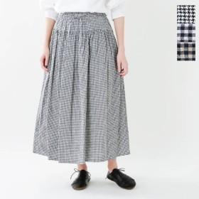 ina イナ リネンコットンチェック ウエストリボン切替ギャザースカート 175152