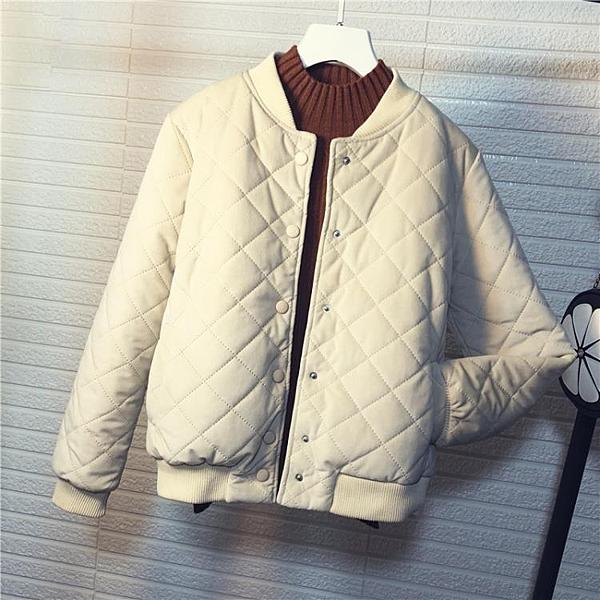 新品飛行服冬季正韓棒球服棉衣外套女短版棒球外套金絲絨原宿小棉服潮飛行外套羽絨服推薦