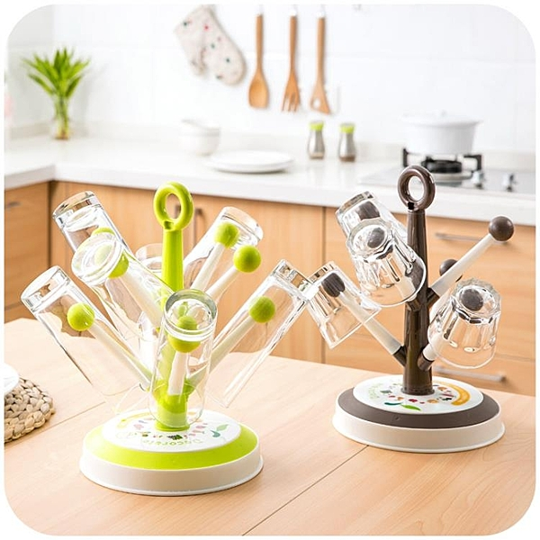 簡約創意樹形瀝水杯架玻璃杯子掛架茶杯架廚房置物架水杯收納架
