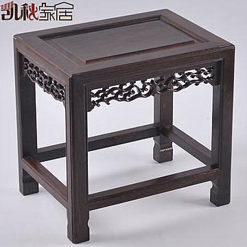 木雕紅木家具*黑檀實木凳子