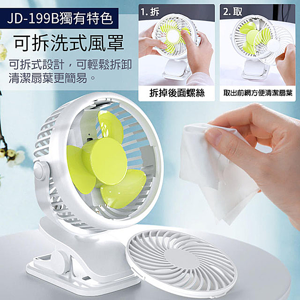 立式/夾式 兩用USB充電隨身風扇(可720度旋轉!可拆洗)