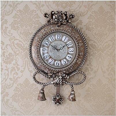 【衫衫來時】銀色歐式掛鐘靜音美式石英家用田園掛錶時鐘