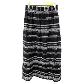 【中古】未使用品 ユナイテッドアローズ UNITED ARROWS Style for Living スカート フレア マキシ ロング 総柄 刺繍 F 黒 ブラック /AKK18 レディース