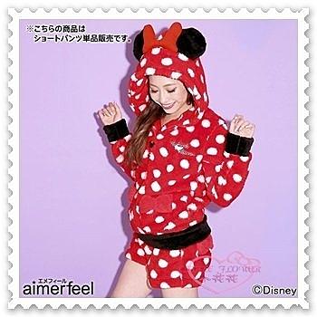 ♥小花花日本精品♥《Disney》aimerfeel x minnie 品牌合作 長上衣加短褲 套裝組 32068603