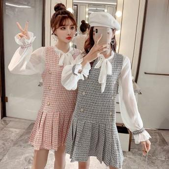 [55555SHOP]レイヤード風 レディース セットアップ サスペンダースカート+シフォン レースブラウス 韓国ファッション 大人 ワンピース【人気 ミディアム 可愛い 2点セット】