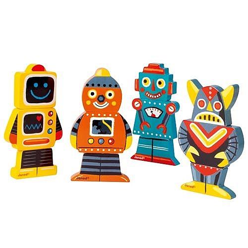 【法國 Janod】磁性拼裝積木 有趣機器人 J07037