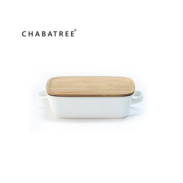 850ml雙把手長方烤盤 泰國CHABATREE琺瑯系列- (象牙白-原廠盒裝)