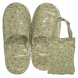 【波克貓哈日網】環保便利商品◇旅行用拖鞋◇《棕白水玉點》