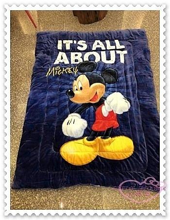 ♥小花花日本精品♥ 《Disney》迪士尼 米奇 毯被 蓋毯 保暖毯被 暖暖被 法蘭絨 藍色 站姿 (預購)