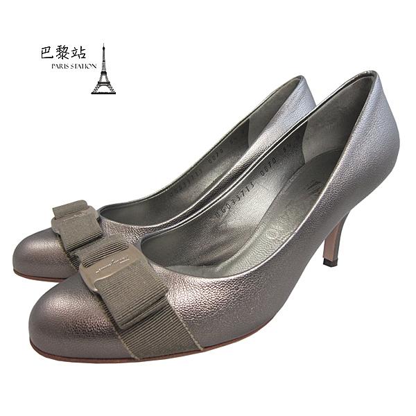 【巴黎站二手名牌專賣店】*現貨*Salvatore Ferragamo 真品*金屬古銅色經典蝴蝶結飾跟鞋(5.5號)