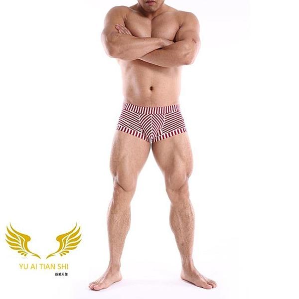 △男四角褲△ 男士平角內褲 多色可選 低腰 性感 小條紋 平角褲 YUAI_F3336