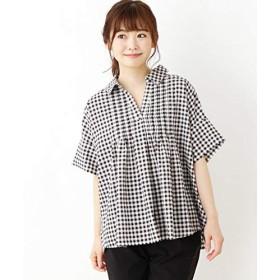 (サンカンシオン) 3can4on タックデザインスキッパーシャツ 54086022 99 ブラック(219)