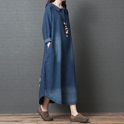 春裝新款韓版寬松大碼女裝微胖mm文藝時尚純棉牛仔襯衫連衣裙