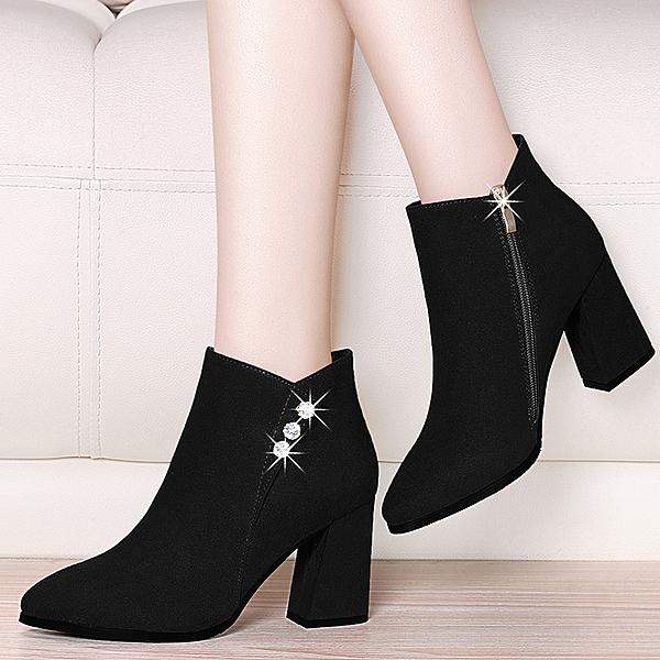 中跟皮鞋粗跟馬丁靴子女鞋子2019新款半高跟鞋秋冬季磨砂短靴女士