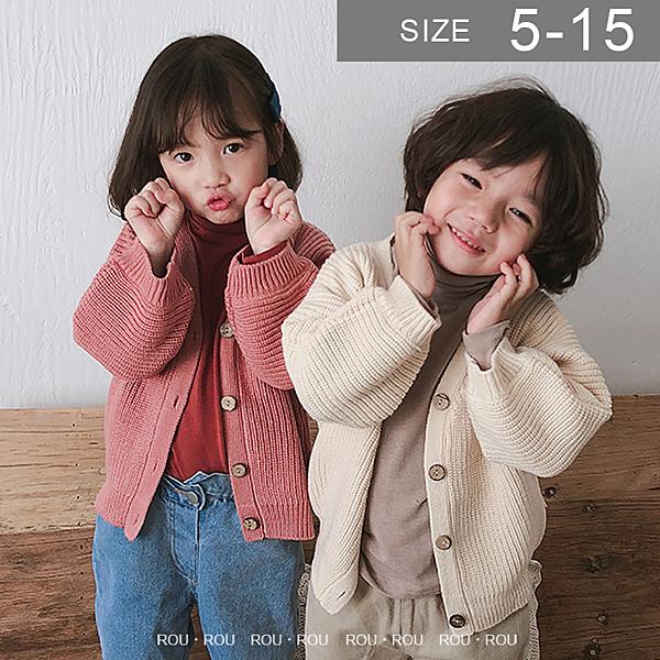 韓國女童毛衣外套。ROUROU童裝。秋冬女童中小童純色v領毛衣針織外套 0333-175