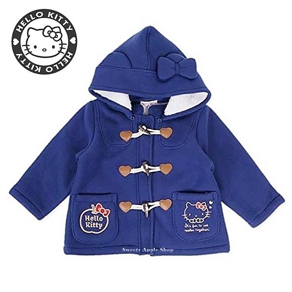 日本限定 三麗鷗 HELLO KITTY 凱蒂貓 連帽牛角排扣外套 兒童 130 (深藍款)