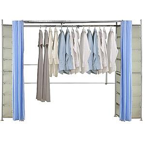 巴塞隆納─AH-29伸縮衣櫥 前布簾水藍色不織布