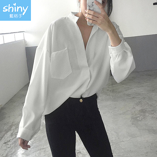【V2985】shiny藍格子-綺麗幻想.v領前短後長寬鬆長袖上衣
