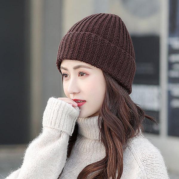 帽子女秋冬加厚柔軟針織毛線帽子潮女休閒街頭保暖光板針織帽