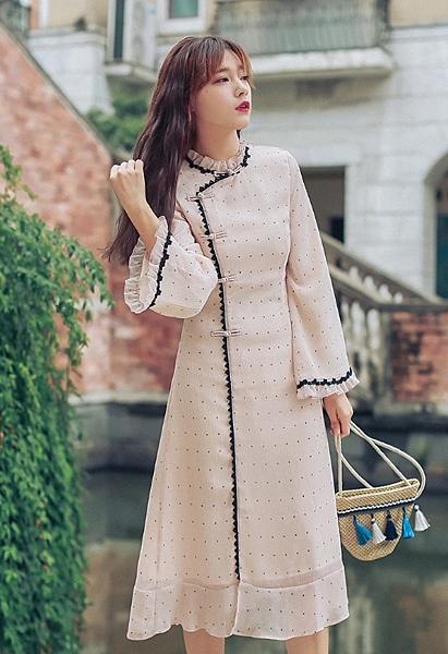 【女裝】☆目希小姐☆【卡其色】復古典雅長裙 波點撞色雪紡紗 改良式顯瘦旗袍連身裙